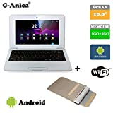 G-Anica Netbook Ordinateur Portable HDMI écr.10.1'- (WiFi, Ethernet, 1.5GHz 1Go + 8GO) Tablette - Google Android 4.4.2 -Argenté + Sac d'ordinateur Portable