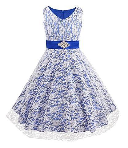 iEFiEL Mädchen Kinder Kleid Festlich Hochzeit Abendkleid Kommunionkleid 104 116 128 140 152 164 176 (128, Dunkel