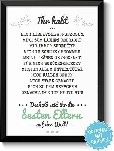 BESTE ELTERN - Bild mit liebevoller Danksagung - optional mit Rahmen - Geschenkidee Geburtstag Hochzeitstag Vatertag Muttertag