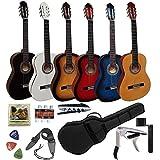 Pack Guitare Classique 4/4 (Adulte) 7/8 3/4 1/2 1/4 (Enfant) + 7 Accessoires ~ Neuve & Garantie (4/4, Noir)