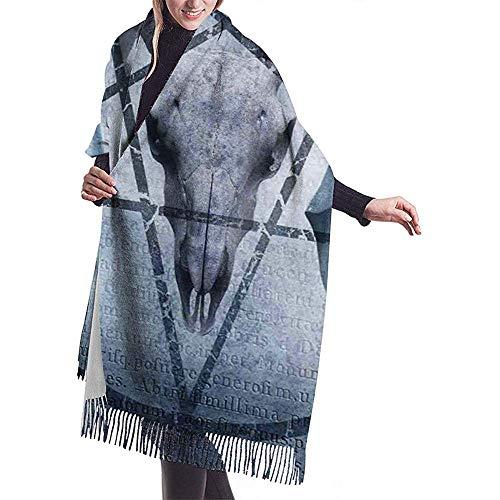 Elaine-Shop Ilustraciones de bufanda grande con ícono de pentagrama Cráneo de cabra Diablo Sueño con capucha Figura Exorcista Chal Wrap Bufanda cálida de invierno Capa Bufandas de gran tamaño
