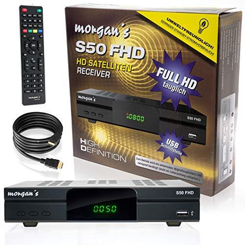 morgan's S50 FHD digitaler Satelliten Sat-Receiver Kit (HDTV, DVB-S2, HDMI, SCART, USB 2.0, Full HD 1080p, LAN) [vorprogrammiert für Astra, Modell 2019] Aufnahme, Timeshift + conecto  HDMI-Kabel