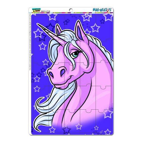 Einhorn Cute Pretty Pink–Violett Star Hintergrund Mag-Neato 's-TM) Neuheit Geschenk Locker Kühlschrank Vinyl Puzzle Magnet Set