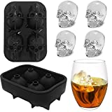 Molde de Cubo de Hielo 3D Calavera Cráneo Set de 4 Bandejas de Silicona con Embudo Pequeño para Whisky, Scotch, Chocolate, etc. (Black)