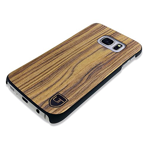 UTECTION Custodia in Legno per Samsung Galaxy S7 - Vero Legno - Ultra Sottile - Design Unico, Wood Cover Bumper Walnut