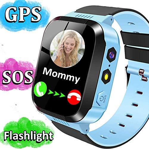 Smartwatch Niños,GPS Tracker Smartwatch Inteligente Relojes para Niños Niñas con cámara de Podómetro con Pantalla Táctil Llamadas SOS Christmas Birthday Gifts for Boys Girls Azul