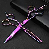 TTXLY 6 Pouces Main Gauche Rose Ciseaux de Coiffure Ensemble Ciseaux Droites/texturant Ciseaux Amincissants Coiffeur Main Gauche Ciseaux de barbier Professionnels,Purple