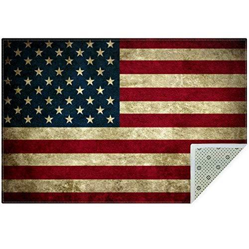 Bennigiry, morbido tappeto antiscivolo con bandiera americana, grande tappeto per soggiorno, camera da letto, sala giochi, 1,5 x 8,5 cm, poliestere, multi, 160x120cm/63x47in