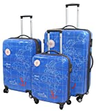 3-teiliges Trolley-Kofferset Reisekoffer Hartschale MADEIRA Himmelblau