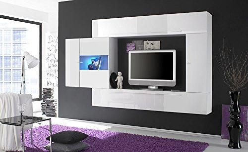 Parete attrezzata mobili soggiorno 4 mobili sospesi in melamina 272x36x200cm sodani primo bianco