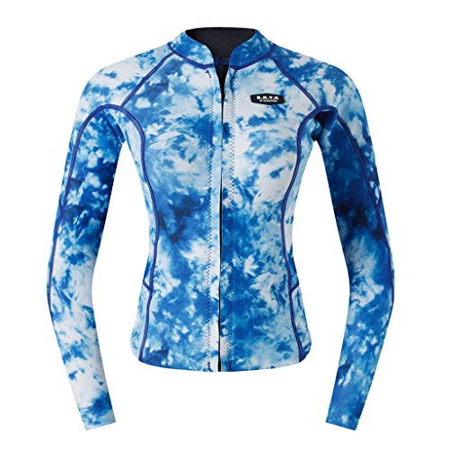 hirt UV Shirt Rash Guard Badeshirt 2mm Neoprenanzug UV-Schutz T-Shirt für Tauchen Surfen Schnorcheln Schwimmen - Blaue Camo M ()