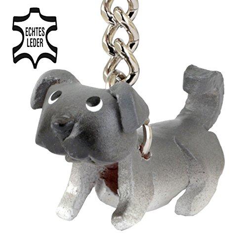Monkimau Mops Pug Molly - Hunde Schlüsselanhänger Figur aus Leder Frauen - Kategorie Kuscheltier - Stofftier - Artikel in schwarz grau - Dein Carl glubschi Freund ca. 2cm klein