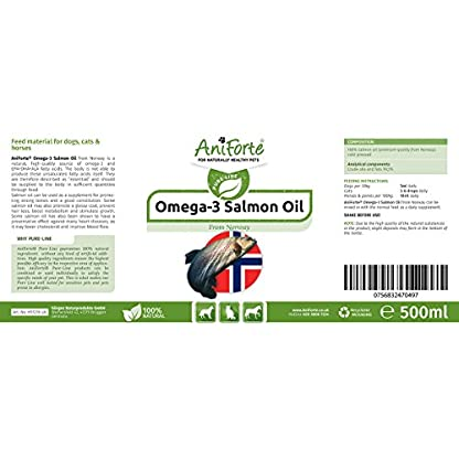 AniForte Premium Salmon Oil for Dogs, Cats, Horses & Pets 500ml - 100% Pure Natural Norwegian Fish Oil Supplement With… 3