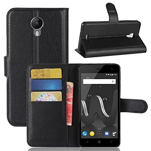 Handyhülle für Wiko Jerry 2 95street Schutzhülle Book Case für Wiko Jerry 2, Hülle Klapphülle Tasche im Retro Wallet Design mit Praktischer Aufstellfunktion - Etui Schwarz