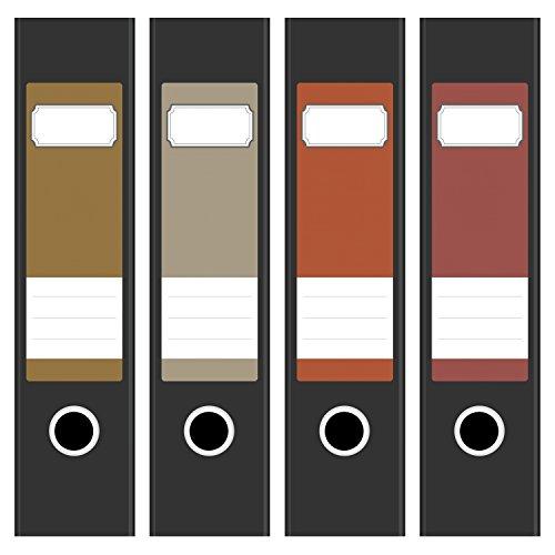 4 x farbige Design Akten-Ordner Etiketten / Aufkleber / Rücken Sticker / Farben im Mix Braun Beige Ocker Rot / für breite Ordner / selbstklebend / 6cm breit