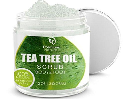 Premium Nature Antimykotische Tee-Baum-Körper & Fuß Peeling - 12 Oz 100 % Natürliche Antibakterielle Exfoliator - Beste Pilzartige Behandlung Verhindert Akne Schuppen Schwielen Fußpilz Jock Itch