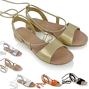 55328fdb585fa ESSEX GLAM Womens Ladies Tie Up Gladiator Flat Sandals Strappy Summer  Metallic Shoes Size
