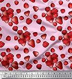 Soimoi Rosa Satin Seide Stoff Himbeere, Erdbeere und