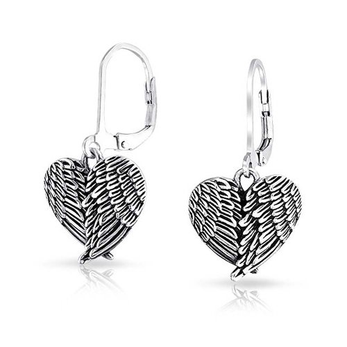 Bling Jewelry Angel Wing Heart Oxidized Sterling Silver Leverback Earrings