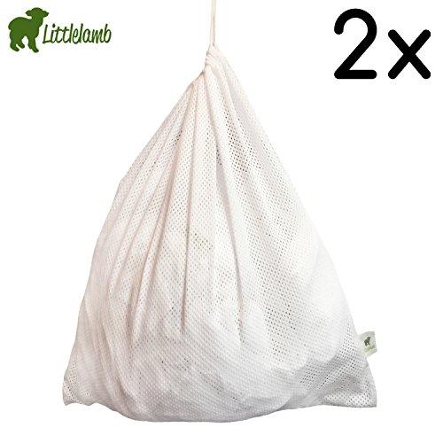 Preisvergleich Produktbild Little Lamb Wäschenetz - (2 Stück) Größe: 46x51 cm für Stoffwindeln, Wäschebeutel, Windelnetz, Windelsack