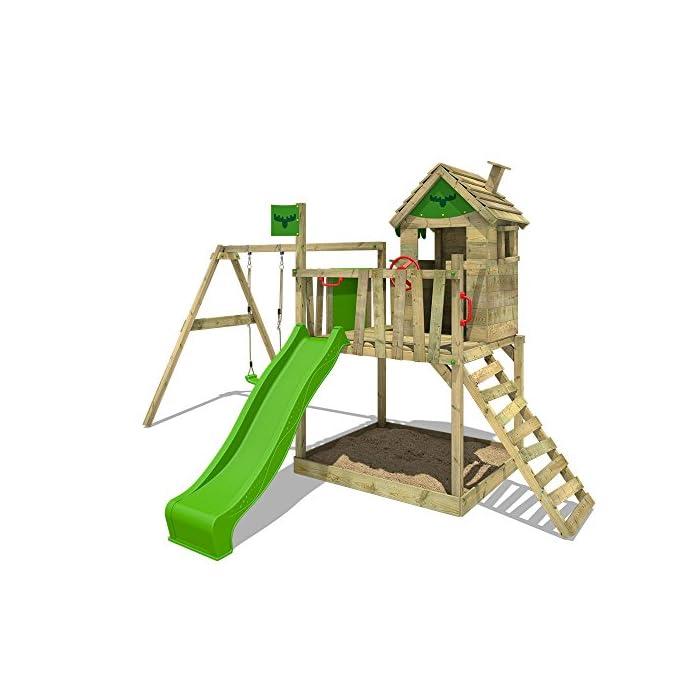 FATMOOSE Spielturm RockyRanch Roll XXL - Klettergerüst mit Stelzenhaus, Schaukel, Sandkasten, Kletterleiter und…