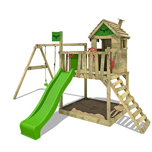 FATMOOSE Stelzenhaus RockyRanch Roll XXL Kletterturm für Kinder Spielturm mit Rutsche, Schaukel, großem Sandkasten und Spielhaus auf Podest