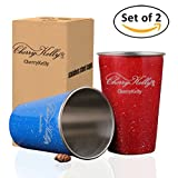 CherryKelly (2er Set) Glasur Edelstahl Tassen - Wiederverwendbare Metall Becher - Stapelbare Trink Gläser - Camping, Outdoor - Kinder Anwendbar - BPA frei - (Blau-Rot) 500ml / 17oz