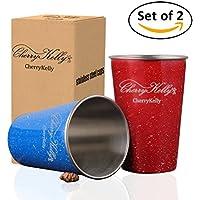 CherryKelly Taza de Acero Inoxidable (Paquete de 2) - Tazas de Metal Reutilizables - Apilables vasos de acero inoxidable - Camping, Senderismo, Actividades al aire libre, Partido - Sin BPA - (Azul-Rojo) 500ml / 17oz