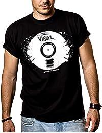 Cooles Dj T-Shirt mit VINYL SCHALLPLATTE schwarz Größe S-XXXL