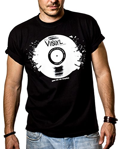 Cooles Dj T-Shirt mit VINYL SCHALLPLATTE schwarz Größe XL