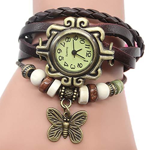 TianWlio Armbanduhren Damen Mode Retro Weave Wrap Dame Bead Butterfly Dangle Armband Armband Quarz Armbanduhr