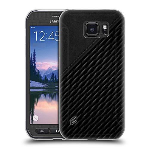 Head Case Designs Offizielle Alyn Spiller Leder Kohlenstoff-Faser Soft Gel Hülle für Samsung Galaxy S6 Active