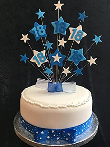 18th Birthday Cake Topper Blues And White Stars PLUS 1 x Metre 25mm Blue With White Stars Grosgrain Ribbon With Ready Made Attached Bow