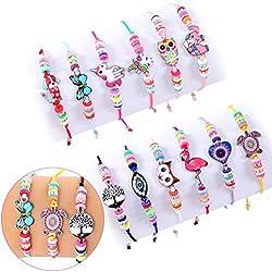 Tacobear 12 PCS Bracelet Amitié Le Porte-Bonheur Amitié Fille Enfant Bracelet Cordon Tressé Bracelet Tressé pour la Cheville de Poignet Anniversaire Cadeau de Fête
