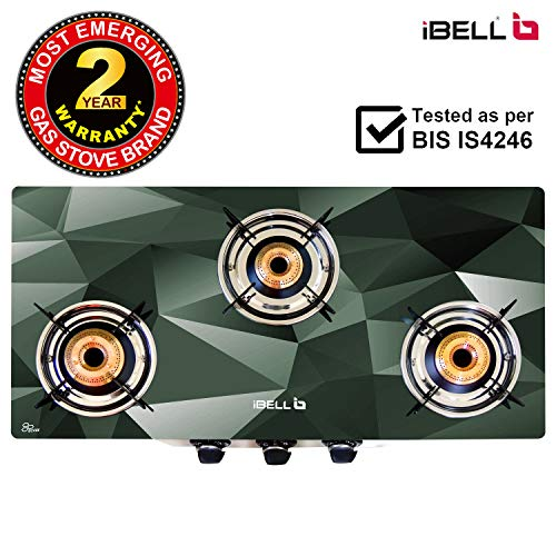 iBELL Mecano 03D4 Glass Top Gas Stove 3 Burner with Stainless Steel Body
