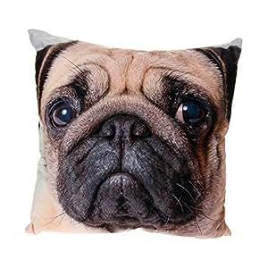 mod le t te de chien carlin imprim photo avec coussin et housse de protection. Black Bedroom Furniture Sets. Home Design Ideas