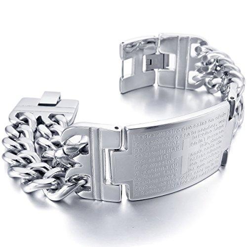 MunkiMix Groß Breite Edelstahl Armband Link Handgelenk Silber Ton Kruzifix Kreuz Bibel Herr Gebet Herren