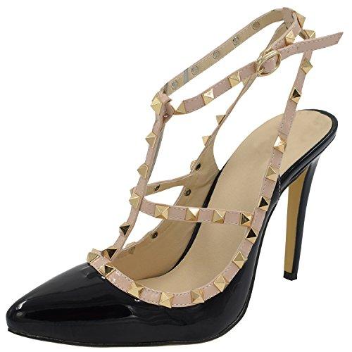 Oasap Damen T-spang Stiletto High Heels Sandalen Pumps mit Nieten, Black EURO39/US8/UK6