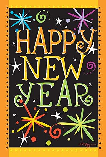 Toland Home Gartenflagge Happy New Year, 31,8 x 45,7 cm, dekoratives Feuerwerk, Feier für den Garten, 1110449 (Garden Flags New Jahren)