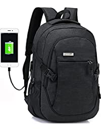 Business Water Resistant Polyester Laptop Backpack with USB Charging Port Fits Under 17-Inch Laptop and Notebook