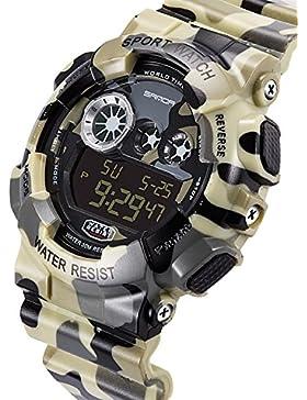 SANDA TYFK550306 Jungen Digital Display Armbanduhr Sports Uhren (Gebrochenes Weiß)