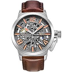 Alienwork mechanische Automatik Armbanduhr Skelett Automatikuhr Uhr grau braun Leder K003S-04
