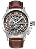 Alienwork Automatic Watch Self-winding Skeleton Mechanical Leather gray brown K003S-04