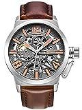 Alienwork Automatic Watch Self-winding Skeleton Mechanical Leather gray brown K003S-04