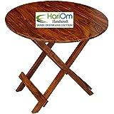 Hariom Handicraft Sheesham Wood Round Foldable Patio Garden Outdoor Balcony Picnic Table, Standard(Brown)