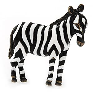 'African Zebra' Black/White Enamel Brooch In Bronze Tone Metal
