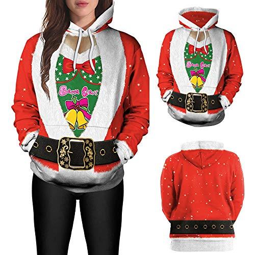GHEMD Ghemdilmn Weihnachten Sweatshirts Santa Druck Mantel Langarm Caps Tops Damen Santa Rentier Christmas Festlich Abendkleider Brautkleid Cocktailkleid Dress Frauen