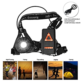 BACKTURE Chest Running Light, USB Rechargeable LED Running Night Light Waterproof Running Torch with 3 Lighting Modes for Runners, Joggers, Outdoor Sport, Walking, Fishing, Camping, Hiking, Climbing 5