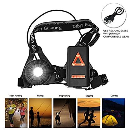 BACKTURE Chest Running Light, USB Rechargeable LED Running Night Light Waterproof Running Torch with 3 Lighting Modes for Runners, Joggers, Outdoor Sport, Walking, Fishing, Camping, Hiking, Climbing 1