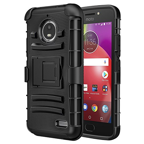 MoKo Moto E4 Hülle - [Heavy Duty Serie] Outdoor Dual Layer Armor Case Handy Schutzhülle Schale mit Gürtelclip & Standfunktion für Motorola Moto E4 (2017) Smartphone, Schwarz